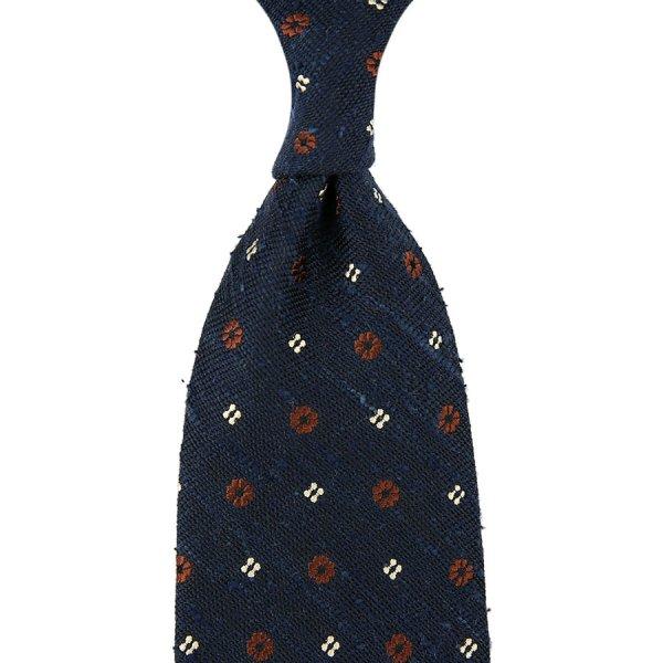 Floral Soft Shantung Silk Tie - Navy - Hand-Rolled
