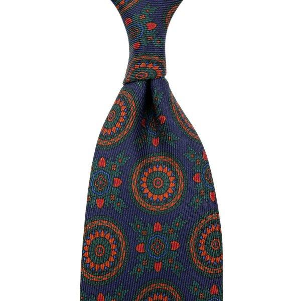 40oz Ancient Madder Silk Tie - Navy XII - Hand-Rolled