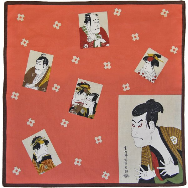Ukiyo-e Taschentuch - Baumwolle - Rot I