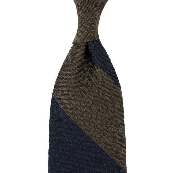 7-Fold Block Stripe Soft Shantung Silk Tie - Navy / Brown