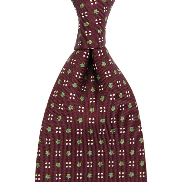 Floral Printed Silk Tie - Burgundy VI - Handrolled