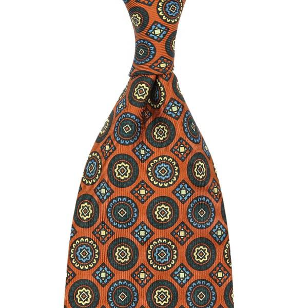 Floral Printed Silk Tie - Rust - Handrolled - 160cm