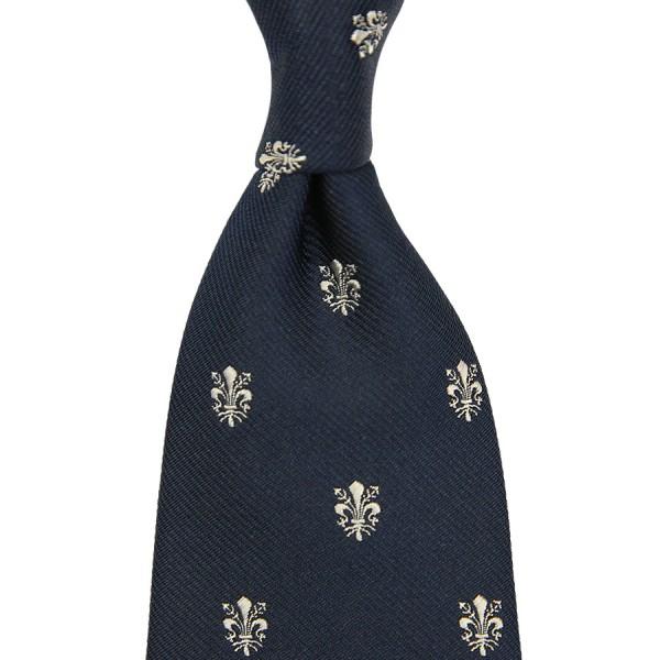 Giglio Di Firenze Silk Tie - Navy - Hand-Rolled