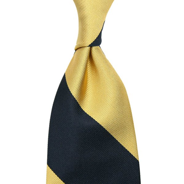 Block Stripe Repp Silk Tie - Navy / Gold - Hand-Rolled