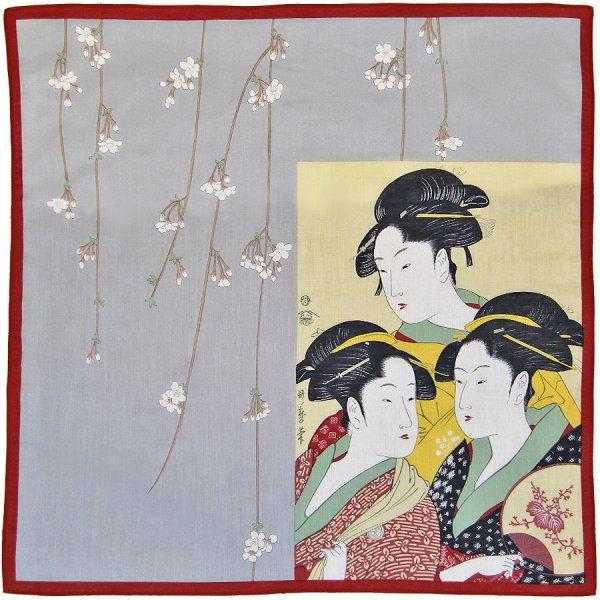 Ukiyo-e Cotton Handkerchief - Red / Grey