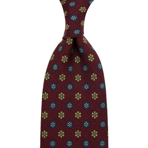 Floral Printed Wool Challis Tie - Burgundy - Hand-Rolled