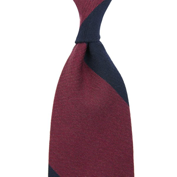 Block Stripe Wool Tie - Navy / Burgundy - Handrolled