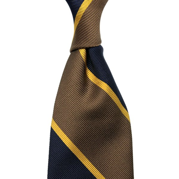 Super Repp Block Stripe Silk Tie - Navy / Brown - Hand-Rolled