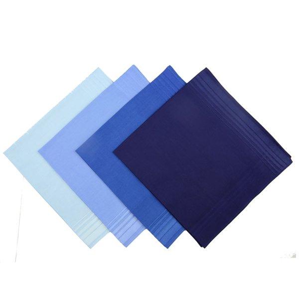 Plain Cotton Handkerchief Set - Blue