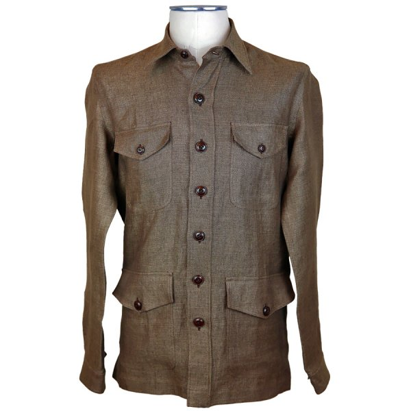 Irish Linen Safari Jacket - Brown
