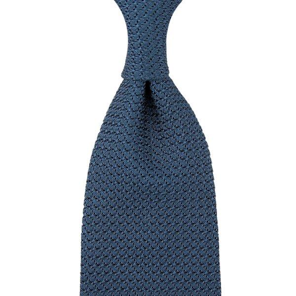 Grenadine / Garza Grossa Tie - Steel Blue - Hand-Rolled