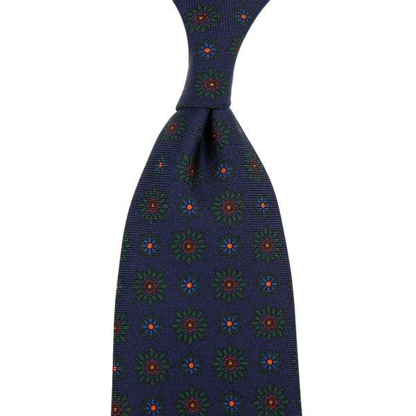 Ancient Madder Silk Tie - Navy VI - Hand-Rolled