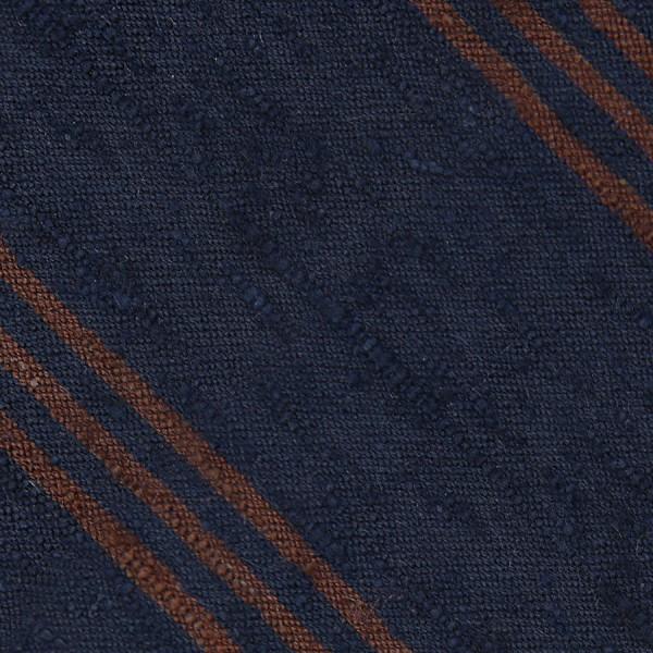Triple Stripe Shantung Bespoke Tie - Navy / Brown