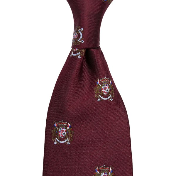 Crest Jacquard Silk Tie - Burgundy - Hand-Rolled