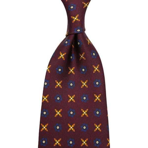 7-Fold 50oz Floral Printed Silk Tie - Burgundy