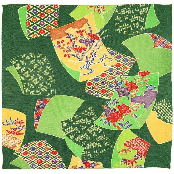 Vintage Kimono Silk Pocket Square - Forest