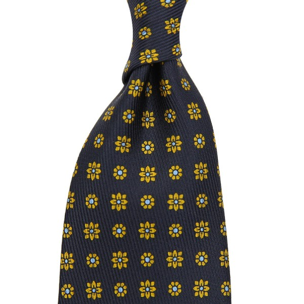 7-Fold 50oz Floral Printed Silk Tie - Navy - Handrolled