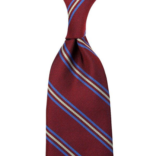 Repp Stripe Silk Tie - Burgundy - Hand-Rolled