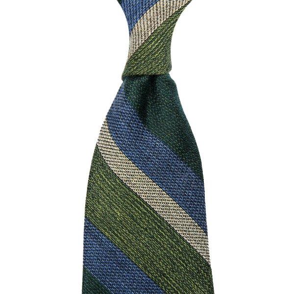 Striped Grenadine / Garza Fina Silk / Wool / Cotton Tie - Green / Blue