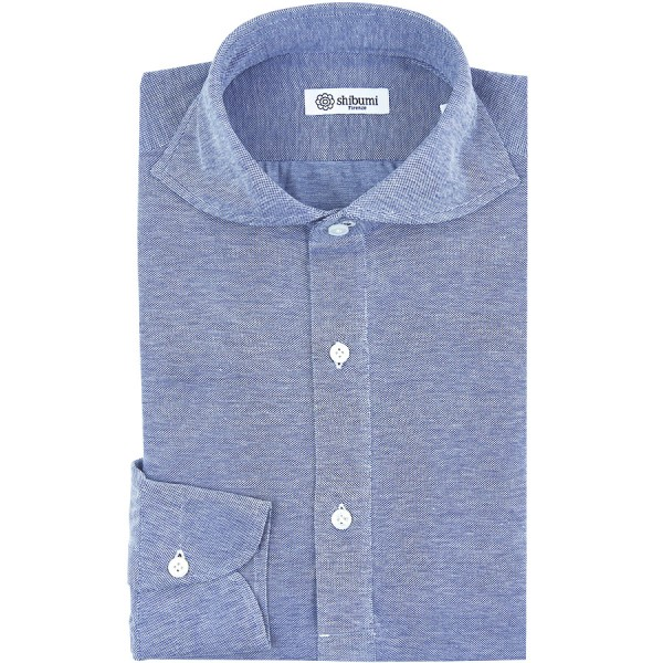 Long Sleeved Polo Shirt - Wide Spread - Sky Blue Birdseye - Cotton - Regular Fit