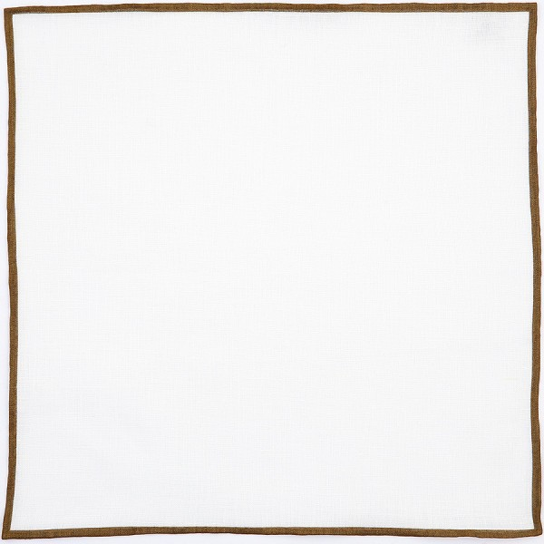 Irish Linen Shoestring Pocket Square - White / Brown