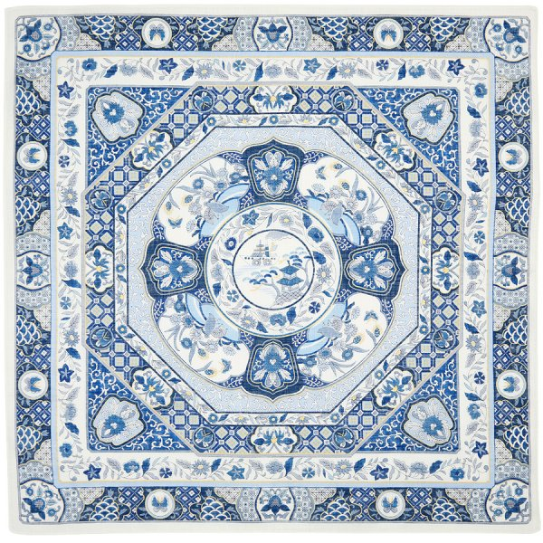 Cotton Handkerchief With Floral Motif - Blue II