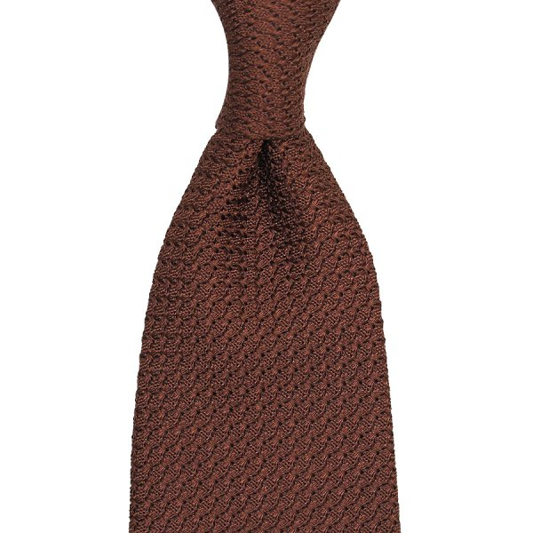 Grenadine / Garza Grossa Tie - Brown - Hand-Rolled