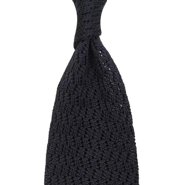 Zig Zag Silk Knit Tie - Graphite