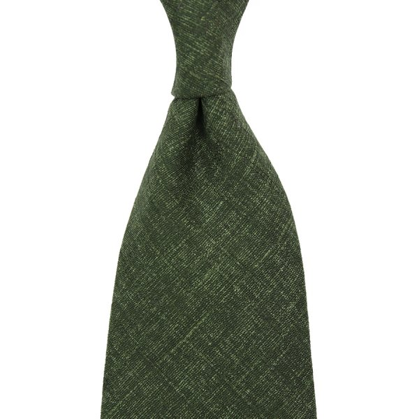 Japanese Mottled Cotton Tie - Moss Green - Handrolled