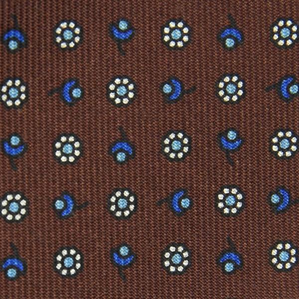 Floral Printed Bespoke Silk Tie - Brown II