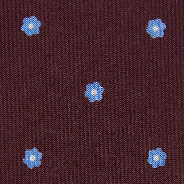 Floral Printed Silk Bespoke Tie - Burgundy VI