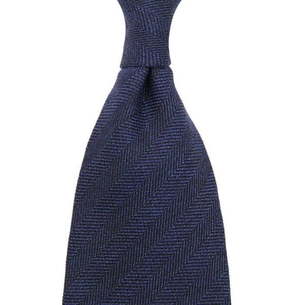 Herringbone Silk / Cotton Tie - Navy - Handrolled