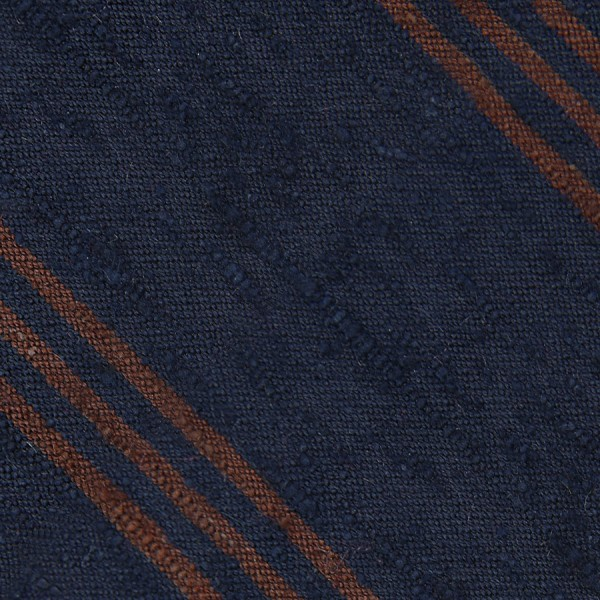 Triple Stripe Shantung Bespoke Tie - Navy / Brown