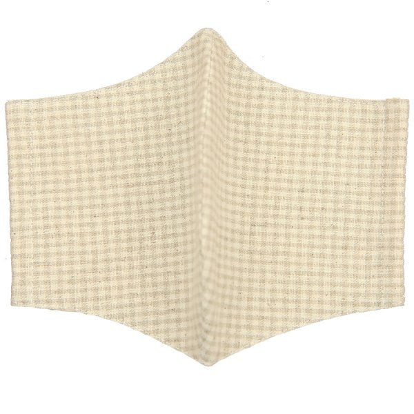 Checked Washable Cotton Mask - Oatmeal