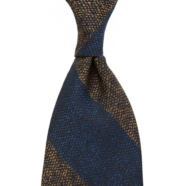 Block Stripe Boucle Silk Tie - Navy / Brown - Handrolled