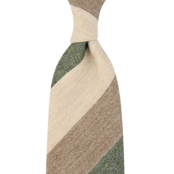 Pure Cashmere Triple Block Stripe Tie - Olive / Beige / Cream