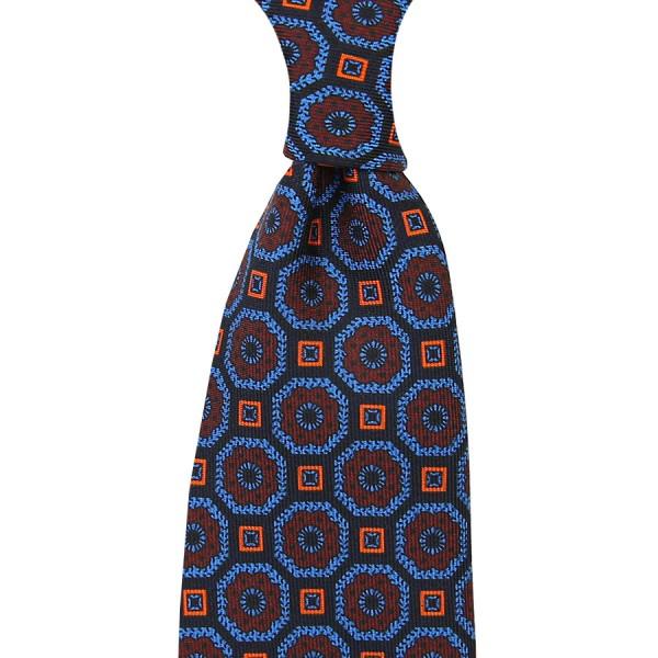 Ancient Madder Silk Tie - Navy VII - Handrolled