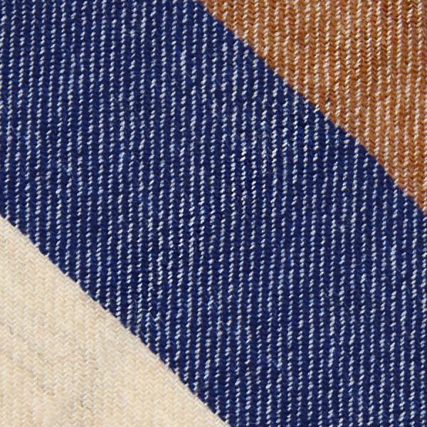 Triple Stripe Pure Cashmere Bespoke Tie - Oatmeal / Navy / Beige