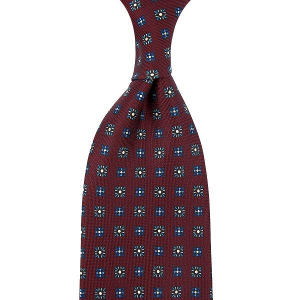 Floral Printed Silk Tie - Burgundy - Hand-Rolled
