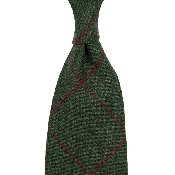Checked Pure Cashmere Tie - Bottle - Hand-Rolled