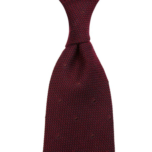 Dotted Silk / Cashmere Grenadine Ties - Burgundy - Hand Rolled