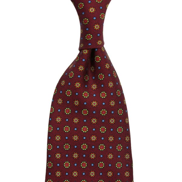 Floral Printed Silk Tie - Cherry - Hand-Rolled