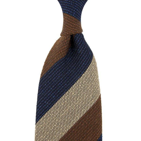 Triple Block Stripe Wool Tie - Navy / Copper / Ivory