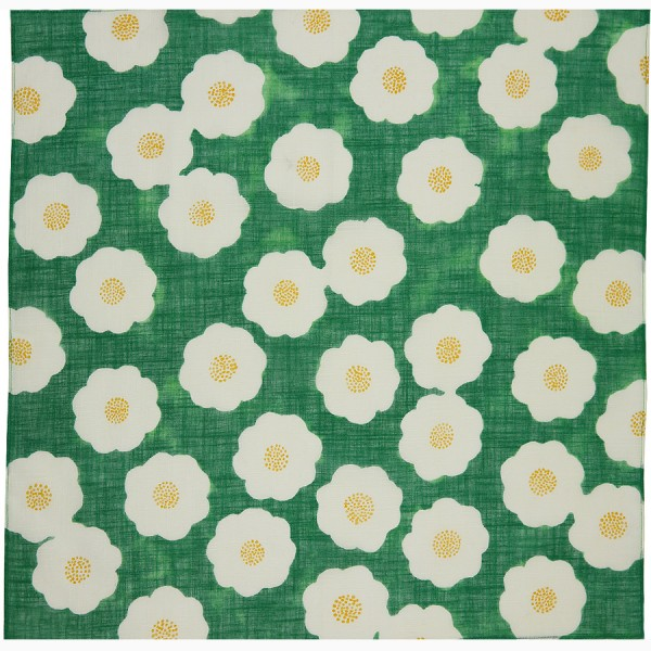 Kimono Motif Cotton Handkerchief - Green