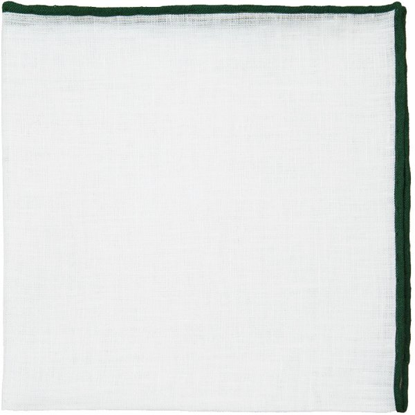 Irish Linen Shoestring Pocket Square - White / Forest Green