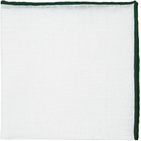 Irish Linen Shoestring Pocket Square - White / Forest Green