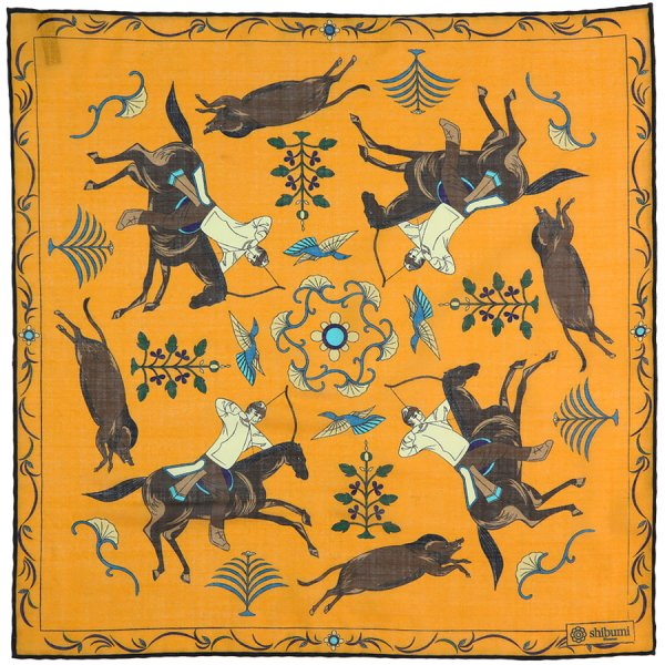 Animal Printed Wool / Silk Pocket Square - Orange - 40x40cm