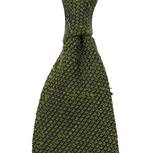 7-Fold Shantung Grenadine Tie - Olive - Handrolled