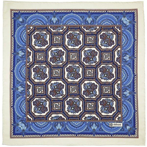 Floral Printed Silk Pocket Square - Cream - 40 x 40cm