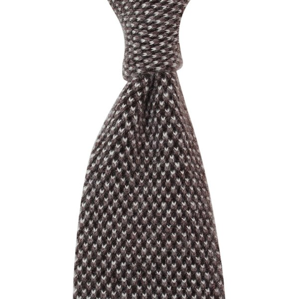 Knit Tie - Brown Birdseye - Wool / Cashmere